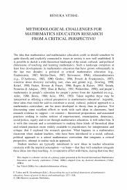 Methodological Challenges for Mathematics Education Research from     SpringerLink     Researching the Socio Political Dimensions of Mathematics Education