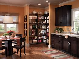 Kitchen Pantry Shelving Ideas by Awesome Orange Wooden Style Corner Walk In Pantry Shelves Design