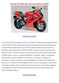 honda vfr 800 vtec service manual 2002 by janellgetz issuu