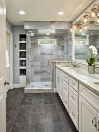 this beautiful master bathroom pulls elements from traditional and
