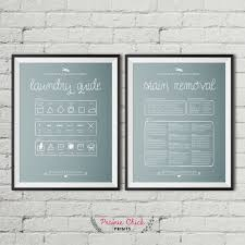 Bluish Grey Laundry Guide Poster Package Laundry Room Decor Stain