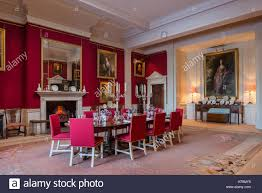 red dining room in 18th century dumfries house ayrshire scotland