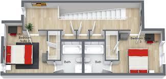 opus 2430 opus 2430 3 bedroom townhouse 2nd floor 3d floor plan jpeg