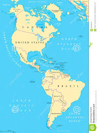 N America Map by The Americas North And South America Political Map Stock Vector
