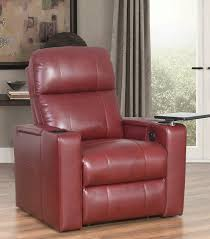 recliners rider power leather recliner red