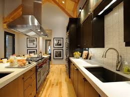 kitchen low cost small galley kitchen design with red accent