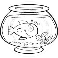 cartoon fish in a fish bowl black and white line art by