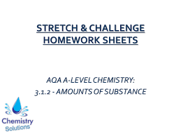 AQA AS Year   A Level Chemistry Stretch  amp  Challenge Homework  Amounts of TES