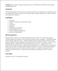 Resume Templates  Life Insurance Agent My Perfect Resume