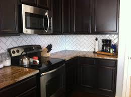 Dark And White Kitchen Cabinets Decorating Artistic Fasade Backsplash With White Kitchen Cabinets