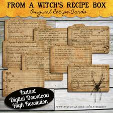 halloween witch recipe cards instant digital download vintage