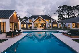 a beautiful house with huge swimming pool designed by grant