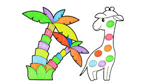 how to draw cartoon rainbow giraffe coloring pages kids song