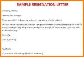 Sample Resignation Letter For Sales Lady   sample of resignation     lbartman com