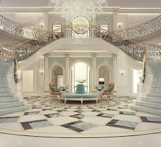 luxury mansion interior grand double staircased foyer design