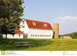 Gambrel Roof Barn With Red Gambrel Roof And Silos Stock Photography Image