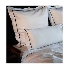 hampton bed linen white with black pleat border