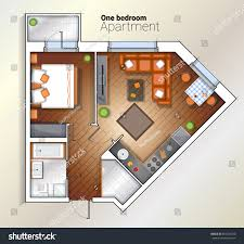 One Room Apartment Floor Plans Vector Top View Color Architectural Floor Stock Vector 659324530