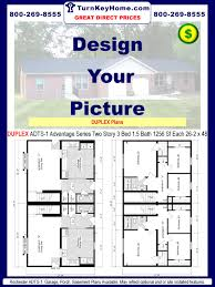 5 Bedroom Mobile Home Floor Plans Duplex Adts 1 2 1 1256 Sf Each Two Story Plan Rochester Homes