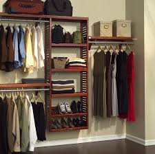 minimalist bedroom with wall mounted wood closet organizers