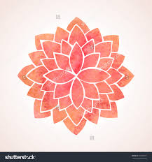 Indian Flower Design Watercolor Red Lotus Flower Mandala Oriental Indian Chinese