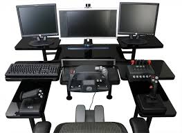 Gameing Desk by Best Custom Gaming Desk Setup With Multiple Monitors In Black