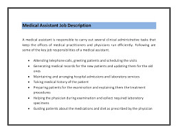 Job Duties On Resume by Medical Assistant Job Description Pdf Medical Assistant Resume Job
