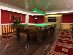 billiard table in red room 3d image stock photo picture and
