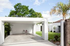 house breeze block simple flat roofed carport home design
