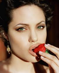 face angelina jolie lips green eyes earrings strawberries wallpaper