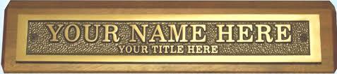 Custom Desk Name Plates by Bronze Desk Name Plates