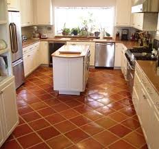 Country Kitchen Tile Ideas Traditional Saltillo Terra Cotta Floor Tile In A Beautiful White