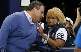 New Jersey Governor Chris Christie  pictured above talking to a Cowboys fan  also made