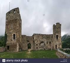Small Castle by Ruins Of Castle Of St Mary In Small Town Luz Saint Sauveur In