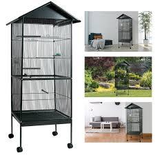 oiseaux en metal volière cage à oiseaux avec toit 4 roues en métal pour canaris
