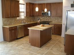 cream big and small tile kitchen floor plus brown wooden kitchen