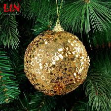 hanging golden sequins bubble christmas tree layout 10cm