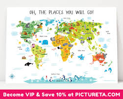 Kids World Map Childrens World Map Poster Unique Baby Gifts First Birthday