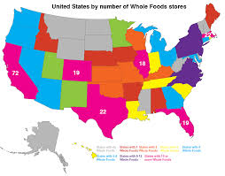 Unite States Map by Maps On The Web United States By Number Of Whole Foods Stores
