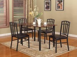 amazon com 5 pc black walnut finish wood u0026 metal dining room