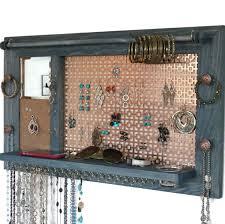 jewelry hanger wooden wall hanging jewelry shelf organizer with
