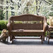 Wicker Resin Patio Furniture - walnut resin wicker 2 seat outdoor glider bench patio arm chair