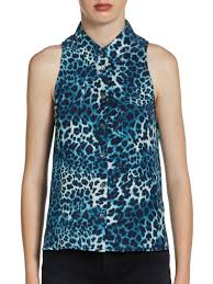 Blue Leopard Print by Equipment Mina Leopard Print Silk Sleeveless Blouse In Blue Lyst
