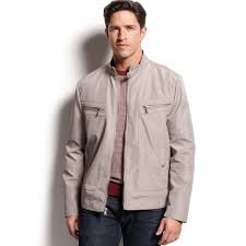 men s moto jacket kenneth cole 4pocket moto jacket in gray for men lyst