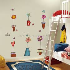 compare prices on nature wall decals online shopping buy low pot plant flower butterfly nature lovely window wall decal pvc wall sticker home decor decoration diy