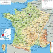 Map Of France And Switzerland by Physical Map Of France Ezilon Maps Michaelsusanno C M A P S