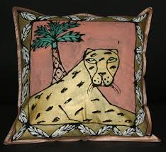 gold leopard palm treepillow cover wall art hand painted in south