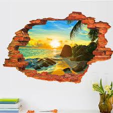 aliexpress com buy creative home decor 3d break wall stickers