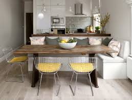 Dining Table With Banquette Light Gray Kitchen Banquette Yellow Net Chairs Subway Tile