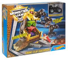 monster trucks cool video amazon com wheels monster jam front flip takedown playset